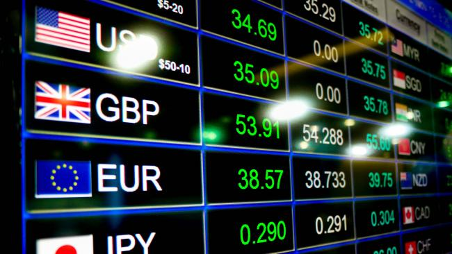 Ticker board of currency exchange rates