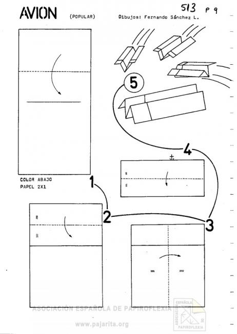 Instructions for folding Avion airplane
