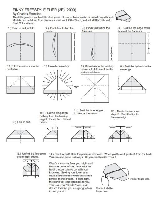 Instructions for folding Finny airplane