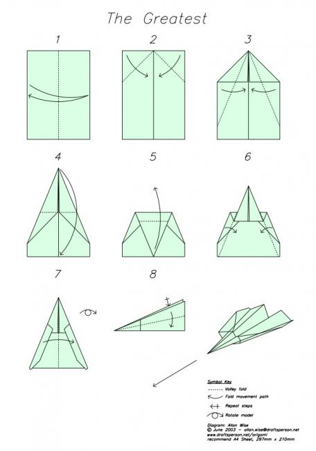 Instructions for folding Greatest airplane