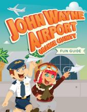 Children dressed as airplane pilots on illustrated cover of fun guide